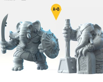Loxodon fighter elephant miniature Dungeons and dragons, DnD , Age of Sigmar, W40k, 9th Age, kow, mordheim | RPG tabletop miniature