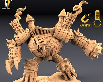 Keg golem miniature mechanical golem Dungeons and dragons, DnD , Age of Sigmar, W40k, 9th Age, kow, mordheim   RPG tabletop miniature