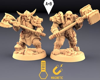 Dwarf Warriors miniature Dungeons and dragons, DnD , Age of Sigmar, W40k, 9th Age, kow, mordheim | RPG tabletop miniature