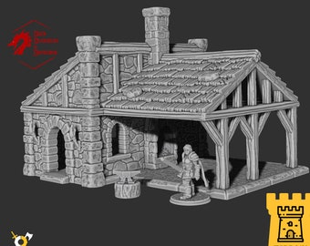 Blacksmith foundry fantasy forge terrain building | Medieval fantasy | Scenery | 28 - 32mm scale |   D&D | Pathfinder