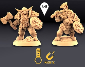 Dwarf Warriors miniature Dungeons and dragons, DnD , Age of Sigmar, W40k, 9th Age, kow, mordheim   RPG tabletop miniature
