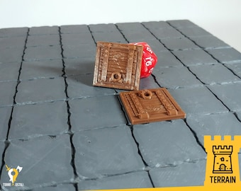 Trapdoor - Set 2x - dungeon trap wooden | Dungeons and Dragons Terrain | Medieval fantasy | wargame Scenery | DnD Terrain | Tabletop Terrain