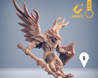 Aarakocra fighter birdfolk tengu kenku miniature Dungeons and dragons, pathfinder, DnD , Age of Sigmar, mordheim   RPG tabletop miniature