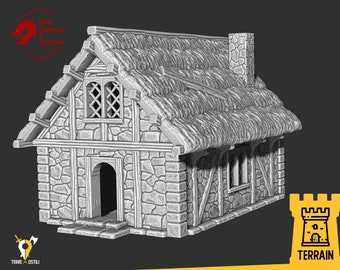 Farmer house wooden hut terrain building | Medieval fantasy | Scenery | 28 - 32mm scale |   D&D | Pathfinder