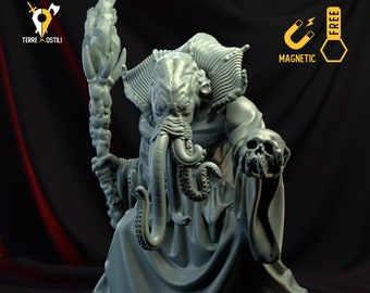 Illithid mage wizard miniature Dungeons and dragons mind flayer, DnD , Age of Sigmar, W40k, 9th Age, kow, mordheim | RPG tabletop miniature
