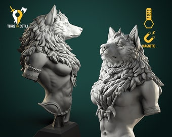 Werewolf queen shaman wolf bust resin high quality miniature Dungeons and dragons, Fantasy bust | RPG tabletop