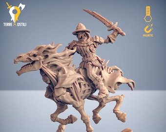 Undead cavalry fighter skeletal miniature Dungeons and dragons, pathfinder, DnD , Age of Sigmar, frostgrave, mordheim RPG tabletop miniature