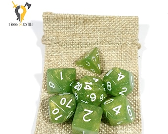 Lime green 7 Dice Set for DnD, Dungeons and Dragons, Pathfinder, Vampire The Masquerade, RPG as Critical Role| Nerd Gift