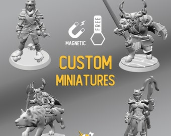 Custom Made D&D RPG Heroes Resin Magnetic Miniatures | Dungeons and dragons tabletop miniature paint free initiative tracker