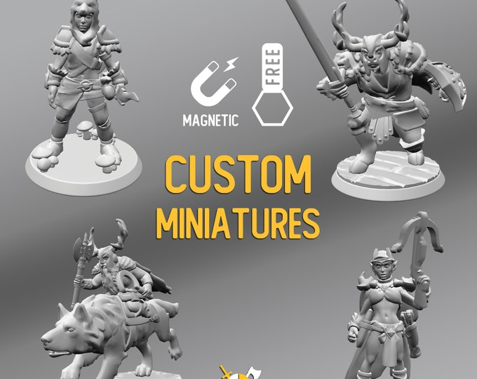 Featured listing image: Custom Made D&D RPG Heroes Resin Magnetic Miniatures | Dungeons and dragons tabletop miniature paint free initiative tracker