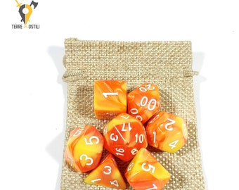 Orchards & Flowers orange 7 Dice Set for DnD, Dungeons and Dragons, Pathfinder, Vampire The Masquerade, RPG as Critical Role| Nerd Gift