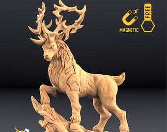 Deer miniature forest king Dungeons and dragons, DnD , Age of Sigmar, W40k, 9th Age, kow, mordheim   RPG tabletop miniature