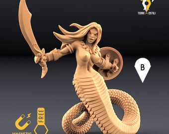Yuan-ti warrior miniature snake woman Dungeons and dragons, DnD , Age of Sigmar, W40k, 9th Age, kow, mordheim | RPG tabletop miniature