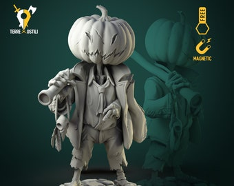 Pumpkin scarecrow construct miniature Dungeons and dragons, pathfinder, DnD , frostgrave, mordheim | RPG tabletop miniature