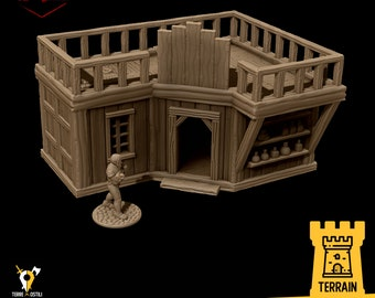 Potion store magic weapon merchant terrain building | Medieval fantasy | wargame Scenery | | 28 - 32mm scale |   D&D | Pathfinder