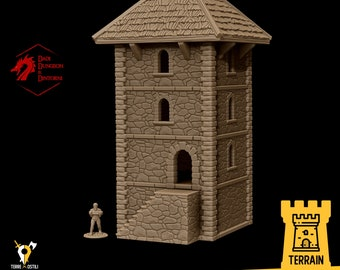 Guard tower archer terrain building | Medieval fantasy | wargame Scenery | | 28 - 32mm scale |   D&D | Pathfinder