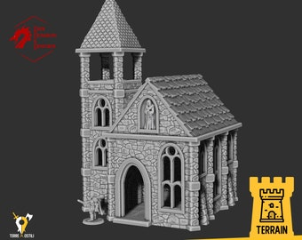 Church old Cathedral Bell tower building terrain  | Medieval fantasy | Scenery | 28 - 32mm scale |   D&D | Pathfinder