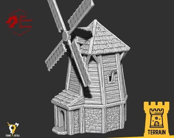 Windmill river village terrain building | Medieval fantasy | wargaming Scenery | | 28 - 32mm scale |   D&D | Pathfinder