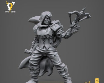 Human elf ranger rogue crossbow miniature Dungeons and dragons, pathfinder, DnD , frostgrave, mordheim | RPG tabletop miniature