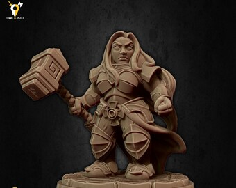 Dwarf hammer cleric miniature Dungeons and dragons, pathfinder, DnD , frostgrave, mordheim | RPG tabletop miniature