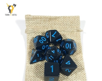 Simple black 7 Dice Set for DnD, Dungeons and Dragons, Pathfinder, Vampire The Masquerade, RPG as Critical Role| Nerd Gift