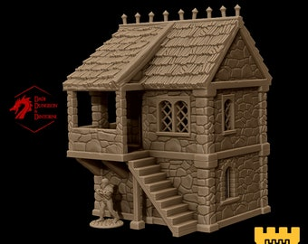 Guard militia post barracks terrain building | Medieval fantasy | wargame Scenery | | 28 - 32mm scale |   D&D | Pathfinder