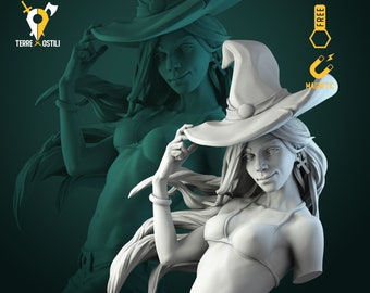 Witch wizard mage Anita bust resin high quality miniature Dungeons and dragons, Fantasy bust   RPG tabletop