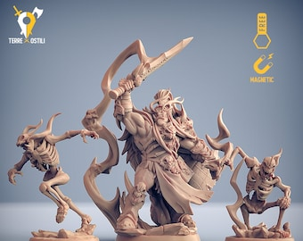 Orc necromancer shaman set with 2 skeletons miniature Dungeons and dragons, pathfinder, DnD , frostgrave, mordheim | RPG tabletop miniature
