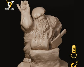 Dwarf chef butcher miniature pathfinder, DnD, Dungeons and dragons, Age of Sigmar, frostgrave, mordheim | RPG tabletop miniature