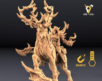 Forest guardian on Deer miniature Dungeons and dragons, DnD , Age of Sigmar, W40k, 9th Age, kow, mordheim   RPG tabletop miniature