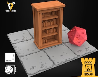 Bookcase wooden wizard house inn scenery | Dungeons and Dragons Terrain | Medieval fantasy | wargame Scenery | DnD Terrain |Tabletop Terrain