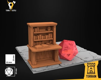 Desk book office wizard scenery | Dungeons and Dragons Terrain | Medieval fantasy | wargame Scenery | DnD Terrain | Tabletop