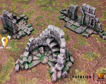 Ruined town tower set of 3 walls village building scenery terrain | Medieval fantasy | wargame Scenery |28 - 32mm scale | D&D | Pathfinder
