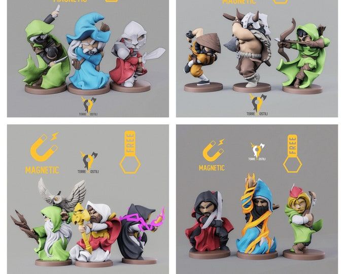 Featured listing image: 12 Class Miniature chibi Paladin Rogue Warlock Fighter DnD miniatures | Dungeons and dragons D&D RPG chibi miniature free initiative tracker