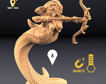 Yuan-ti archer miniature snakefolk Dungeons and dragons, DnD , Age of Sigmar, W40k, 9th Age, kow, mordheim | RPG tabletop miniature