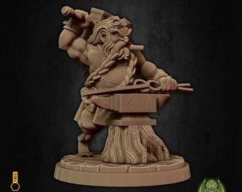 Blacksmith dwarf anvil miniature Dungeons and dragons, pathfinder, DnD , Age of Sigmar, frostgrave, mordheim | RPG tabletop miniature
