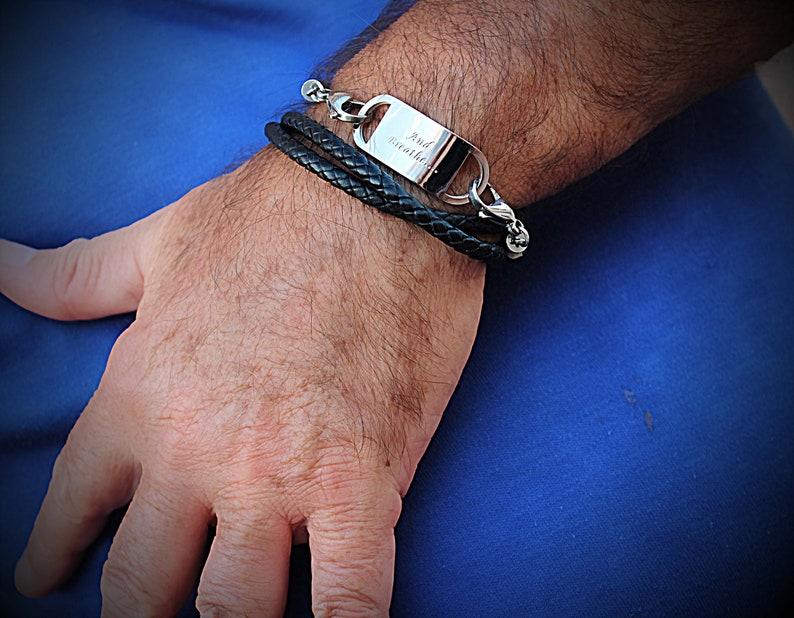 Wrap Around Braided Leather Inspirational Bracelet Customisable