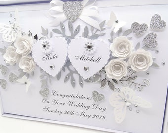 Handmade Personalised Card Wedding Day Card Anniversary Engagement Gift Box  3D