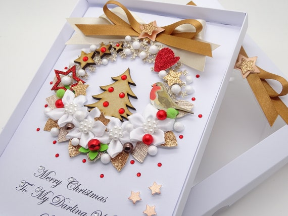 Handmade Personalised Christmas Card Mum /& Dad Wife Husband Sister Brother Wife