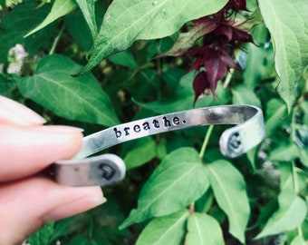 Breathe. - Affirmation Band, Mantra Bracelet Cuff- SOZO Silverware
