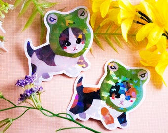 Froggy Cat Meme Holographic Vinyl Sticker Decal Tabby Calico Cat