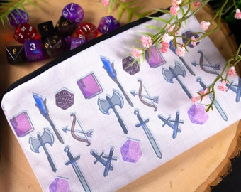 Dungeons and Dragons DND Weapon and Dice Pencil Pouch/Pencil Case/Makeup/ Dice Bag with Zipper