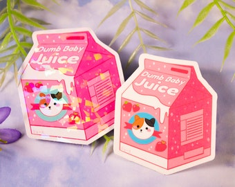 Dumb Baby Juice Sticker with Calico Cat 2.5 inch