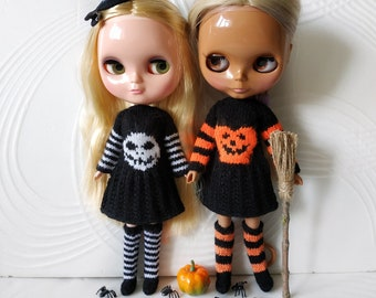 Blythe Halloween pumpkin or Jack dress, striped knee socks and hat, Obitsu 22 24 autumn knitted clothes, Azone doll witch outfit