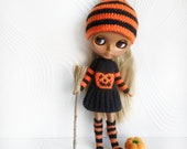 Blythe Halloween set knitted dress, striped knee socks and hat