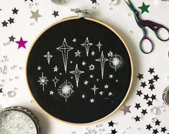 Beginners Embroidery Kit, stars, needlecraft pattern, embroidery pattern, beginners needlecraft, modern embroidery, hoop art, embroidery