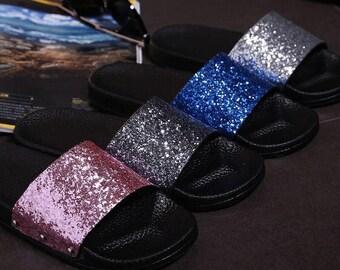 505e79c22e6cd Glitter slides   Etsy
