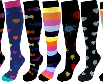 7 Pair Large/X-Large Premium Quality Colorful Moderate Graduated Compression Socks 15-20 mmHg. Mens & Womens Assorted Multi-Colored Designs