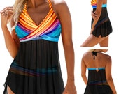 2 Piece Bathing Suits For Women, Trendy High Waisted Bikini Tankini Comfortable and Stylish Multiple Colors and Designs setK