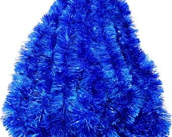 Blue Seasonal Holiday Tinsel Garland 25 ft, Christmas, New Year's Eve Celebration, Wedding, Birthdays, Festivities, Special Events